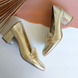 Bandolino White Gold Metallic Loafer Block Heels